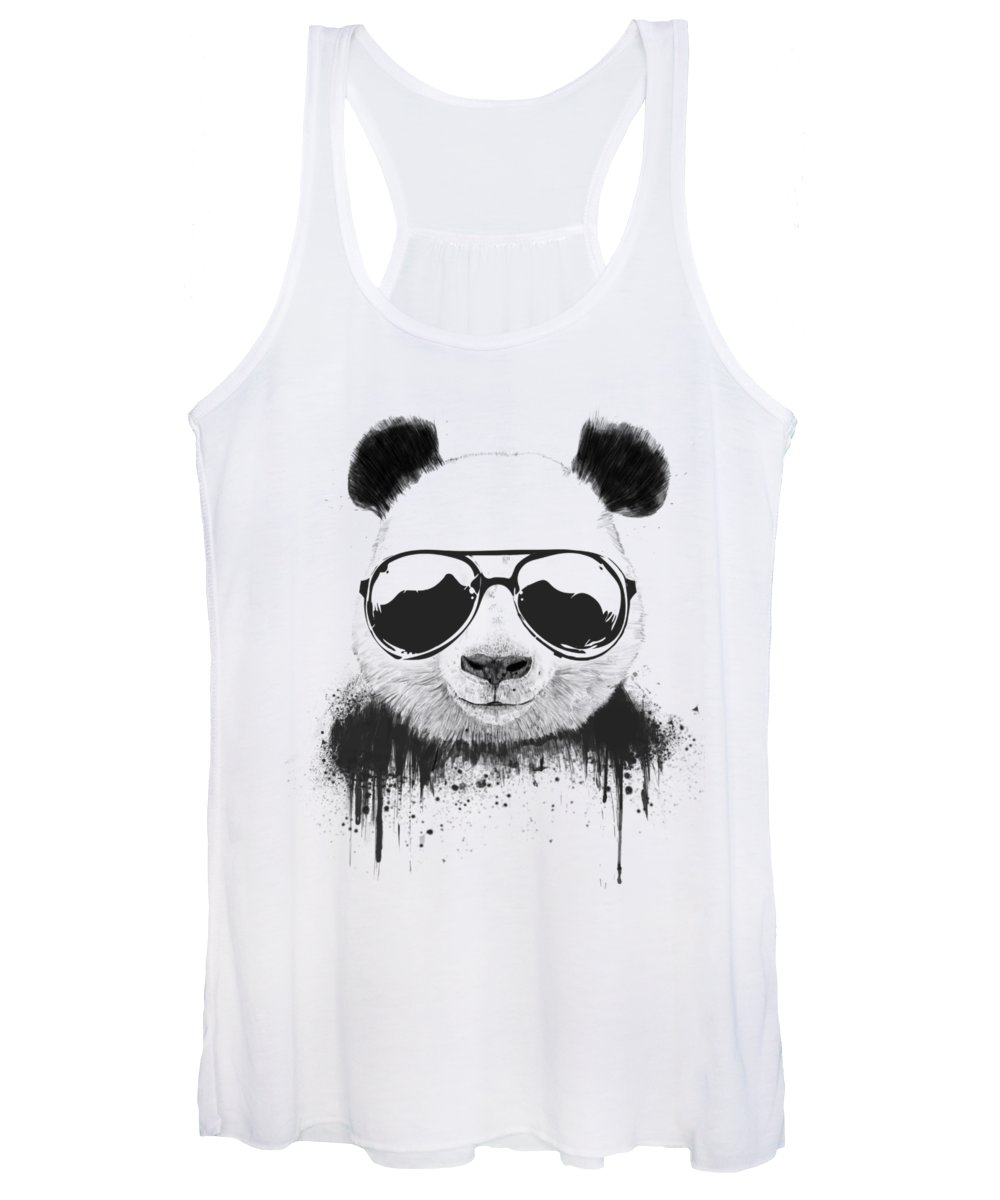 Panda Women's Tank Top featuring the mixed media Stay Cool by Balazs Solti