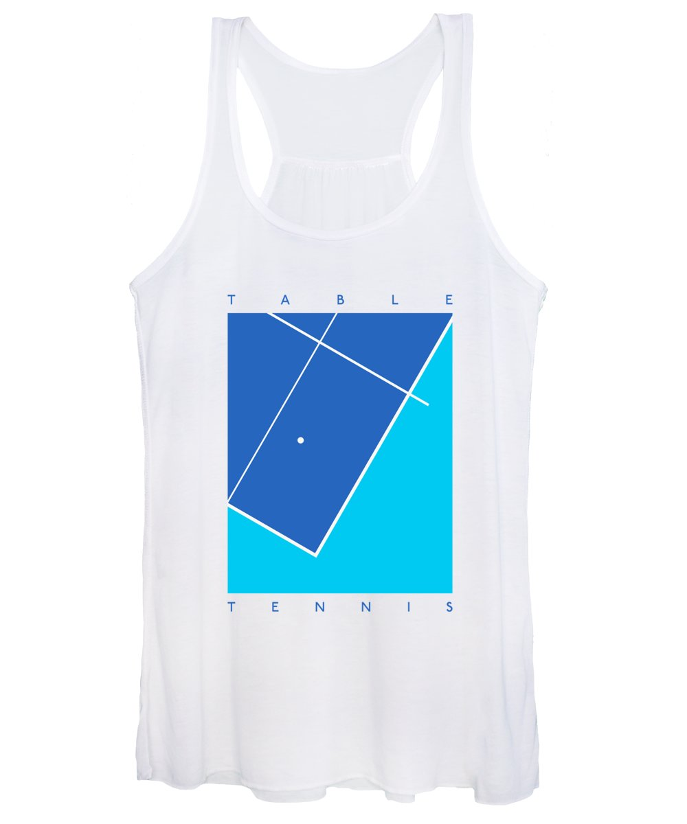 Table Women's Tank Top featuring the digital art Table Tennis Ping Pong Table - Blue Cyan by Ivan Krpan