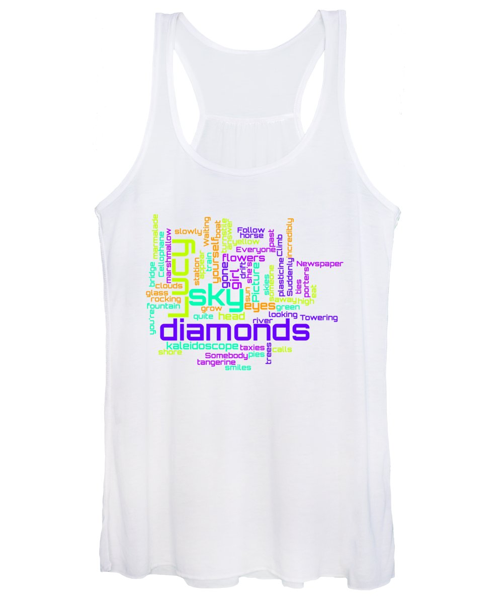 The Beatles Women's Tank Top featuring the digital art The Beatles - Lucy in the Sky with Diamonds Lyrical Cloud by Susan Maxwell Schmidt