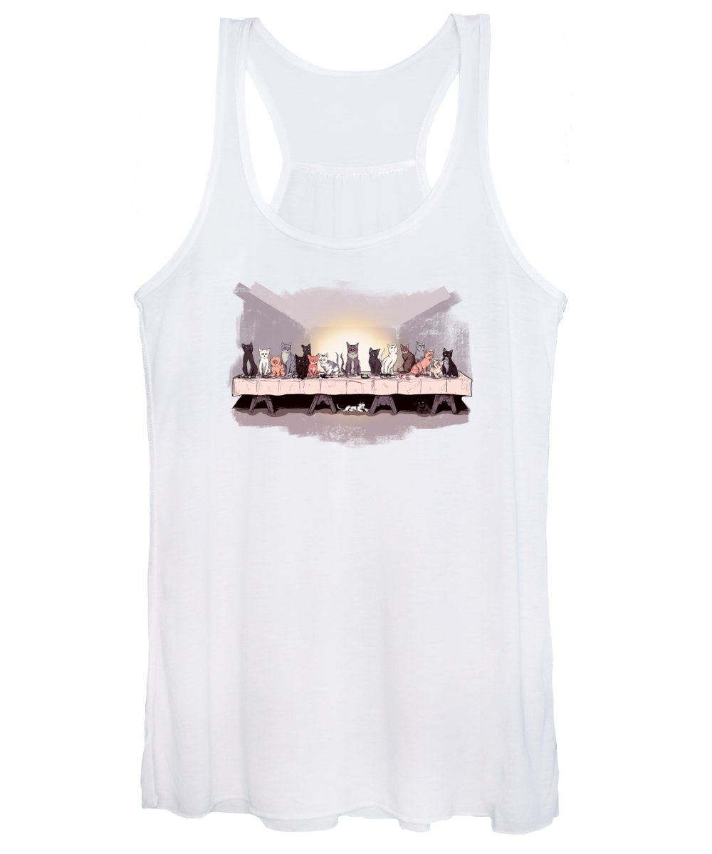 The Cat Supper Women's Tank Top featuring the photograph The Cat Supper by Ludwig Van Bacon