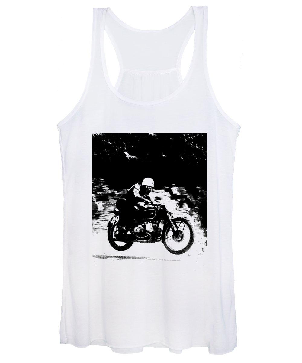 Vintage Motorcycle Racer Women's Tank Top featuring the photograph The Vintage Motorcycle Racer by Mark Rogan