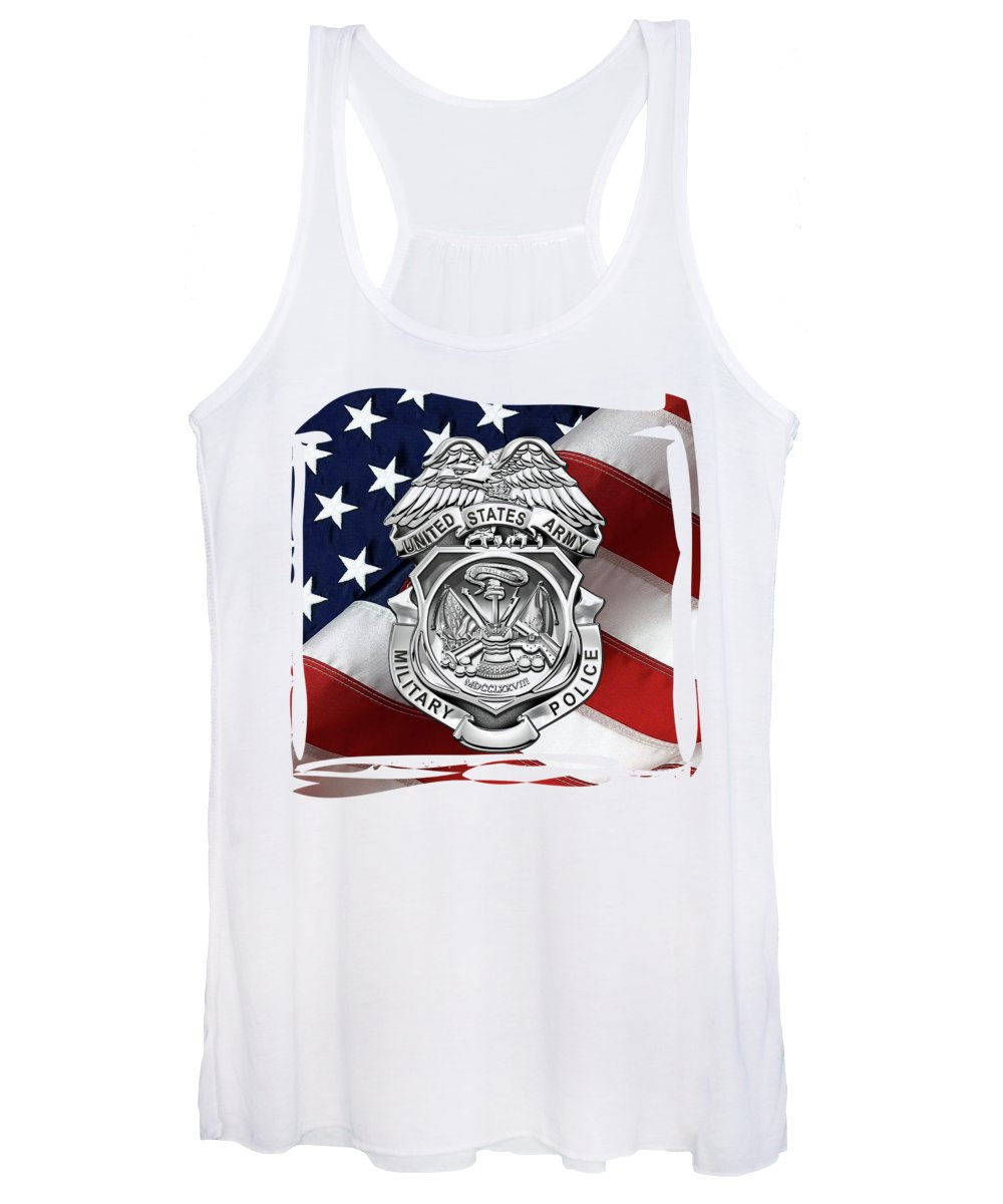 'military Insignia & Heraldry' Collection By Serge Averbukh Women's Tank Top featuring the digital art U. S. Army Military Police Corps - Army M P Badge Over American Flag by Serge Averbukh
