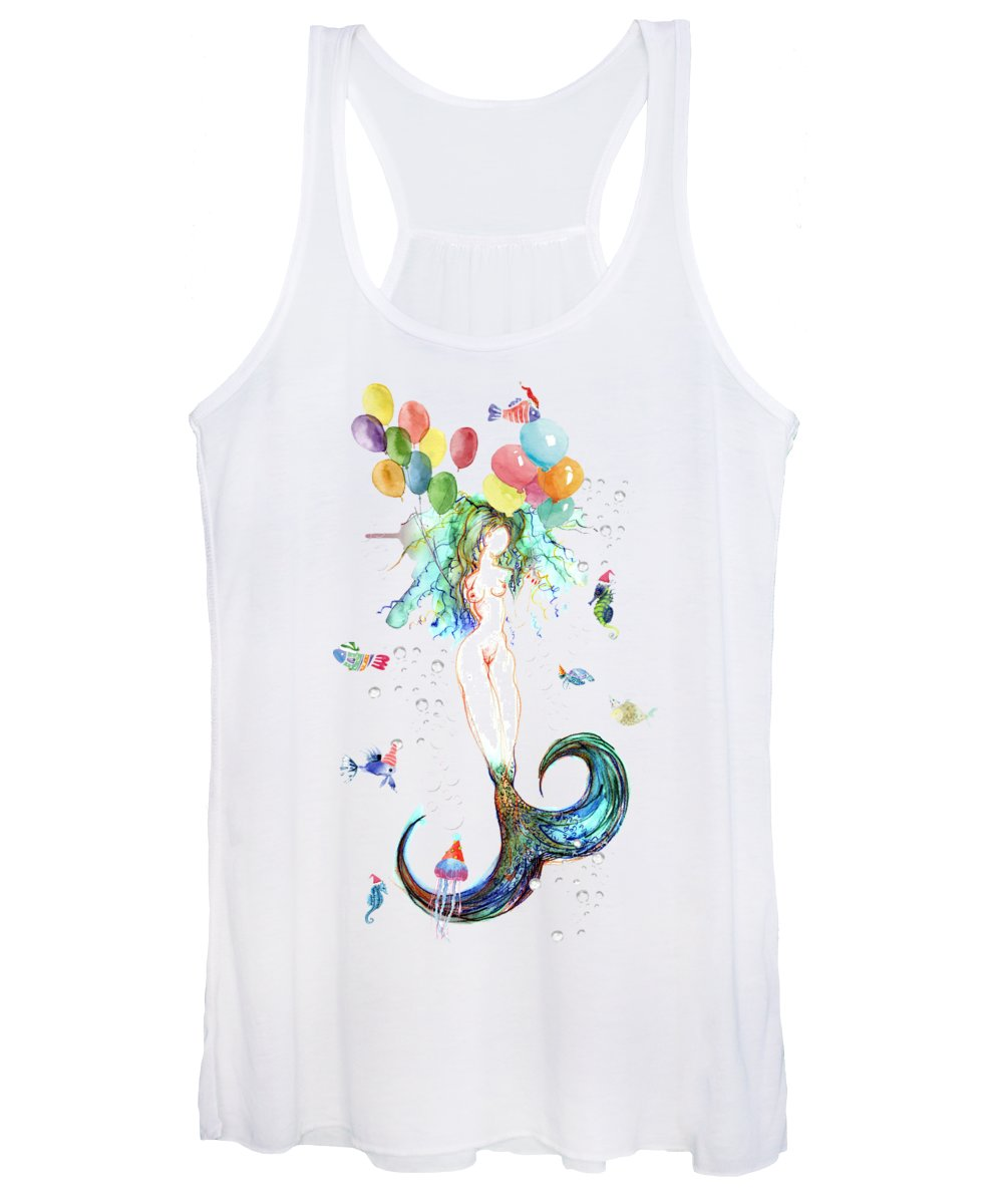 Mermaid Women's Tank Top featuring the painting Waterlily by Carolyn Weltman