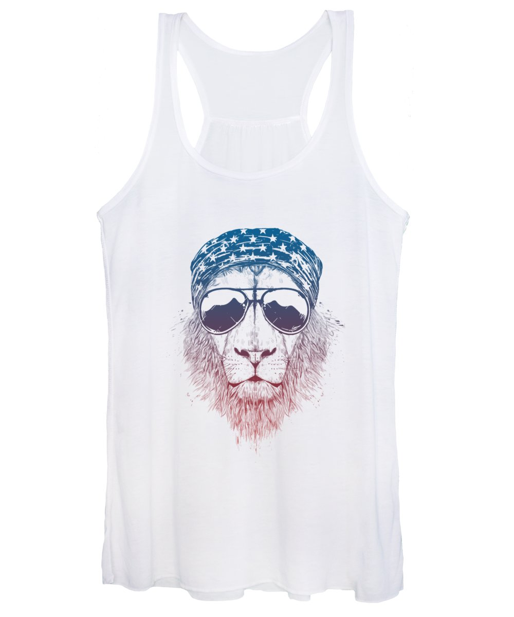 Lion Women's Tank Top featuring the drawing Wild lion II by Balazs Solti