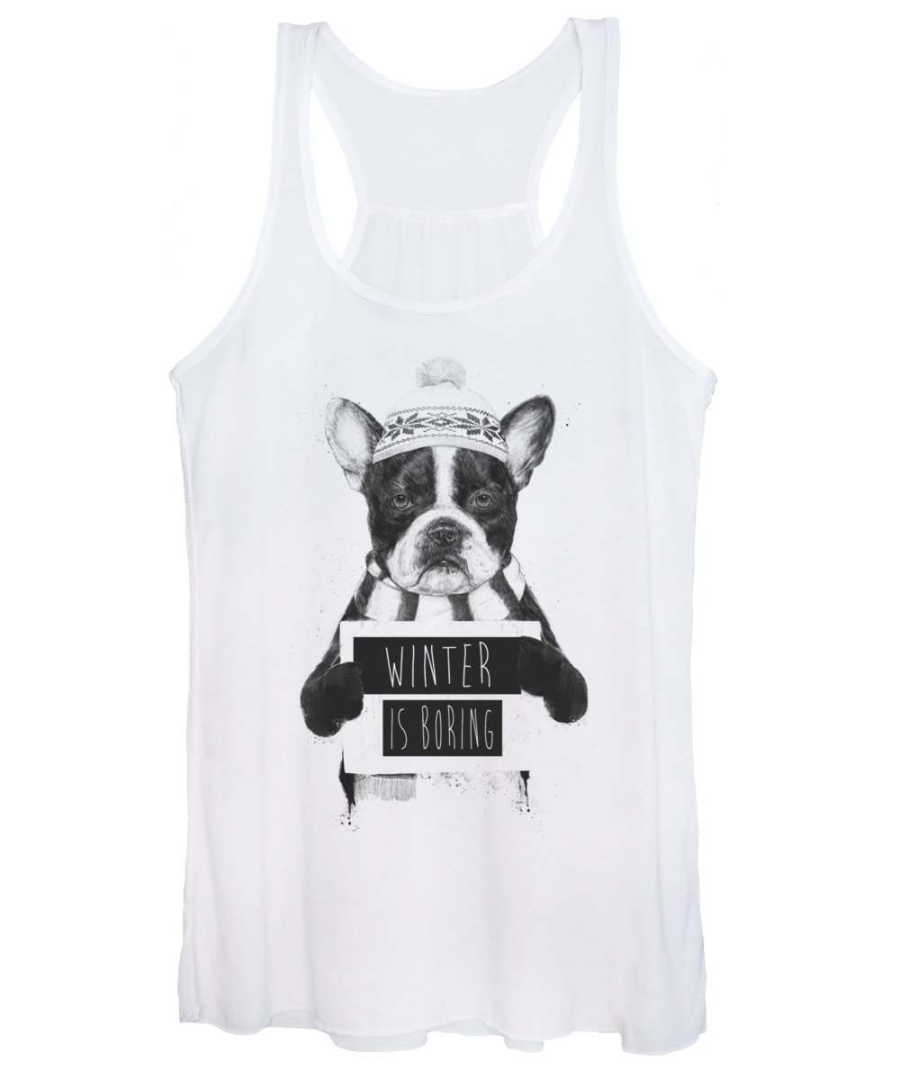 Bulldog Women's Tank Top featuring the mixed media Winter is boring by Balazs Solti