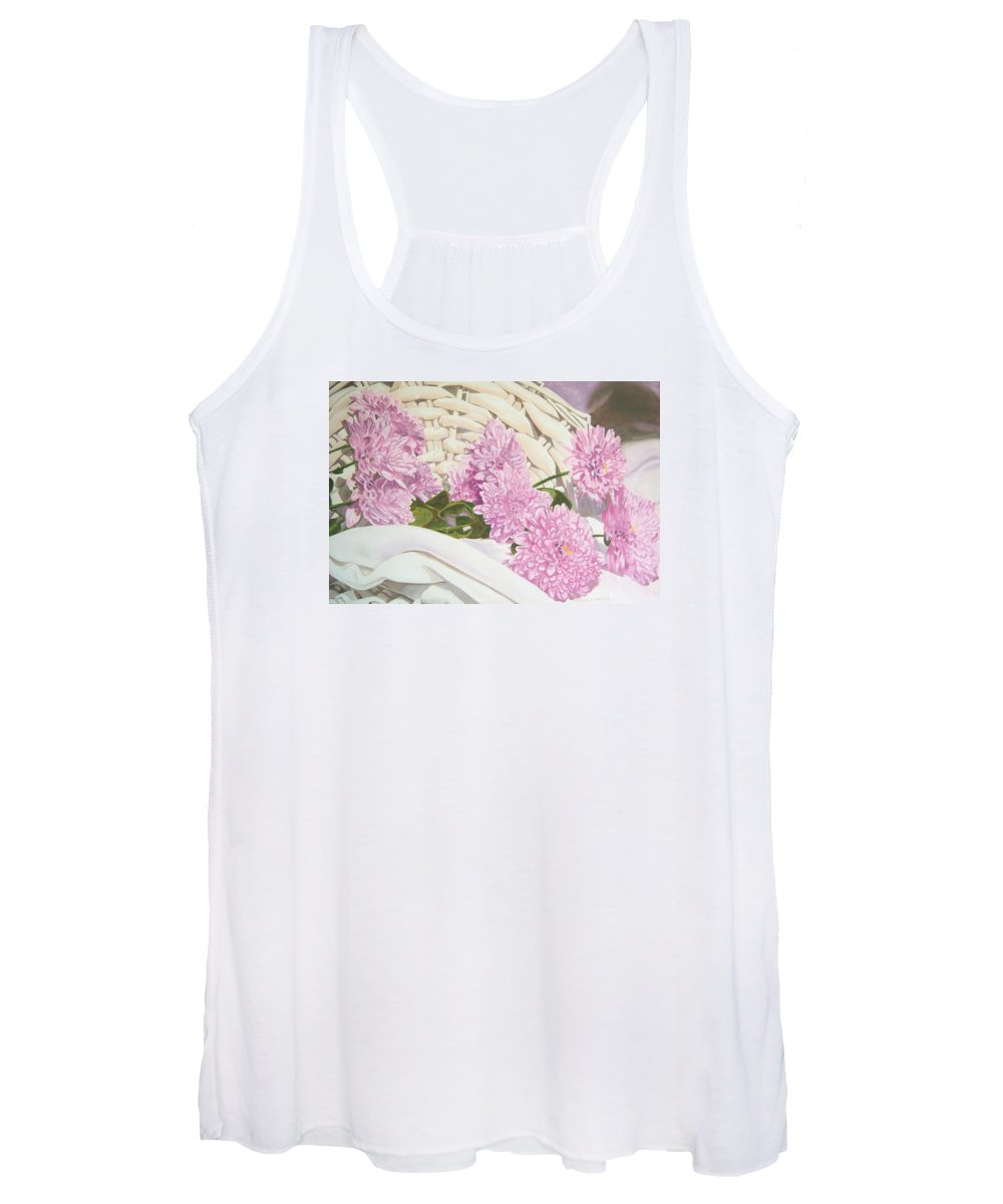 Fine Art Print Women's Tank Top featuring the painting Floral Art Print For Sale Still Life Oil Painting by Diane Jorstad