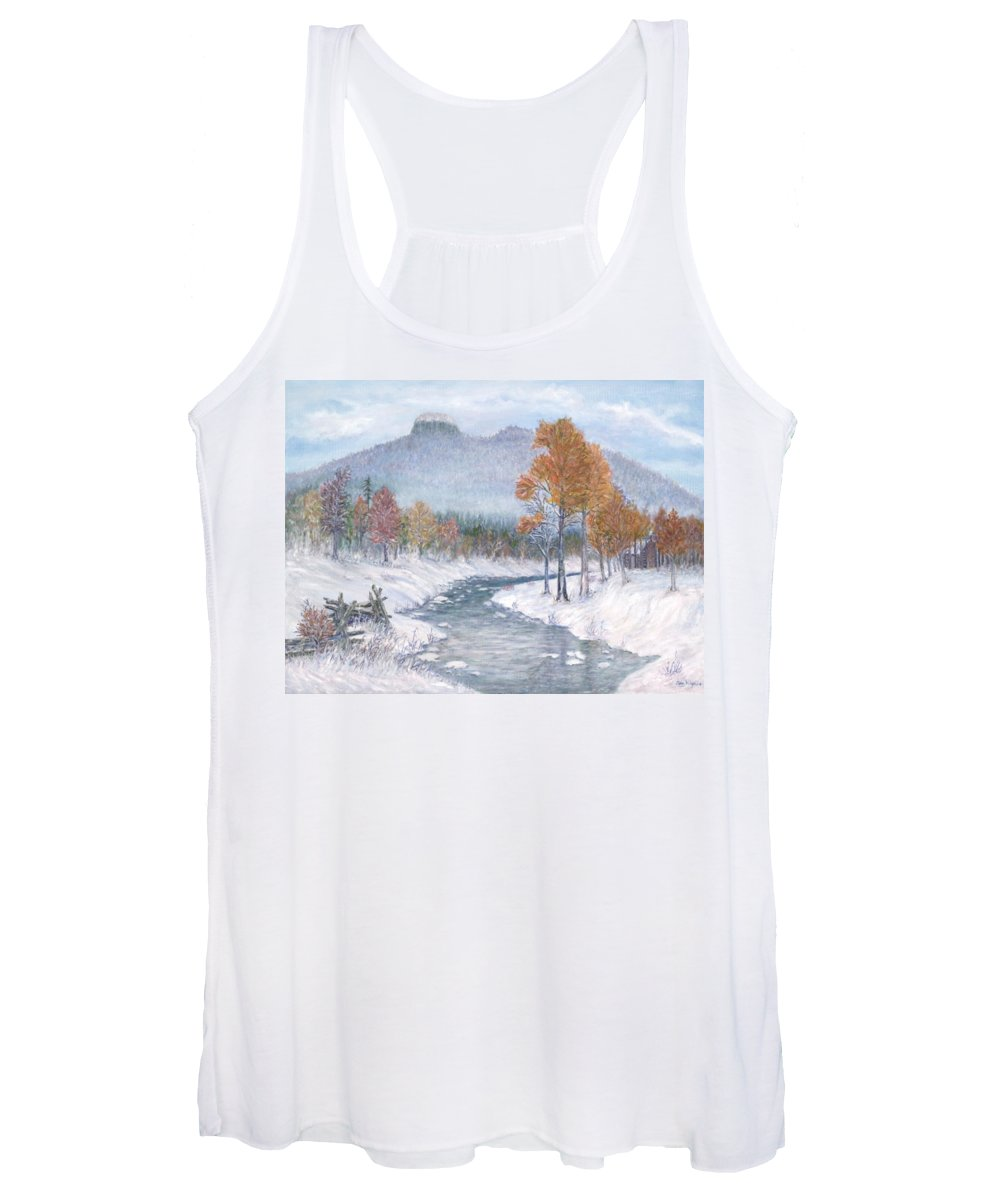 Snow Women's Tank Top featuring the painting Autumn Snow by Ben Kiger