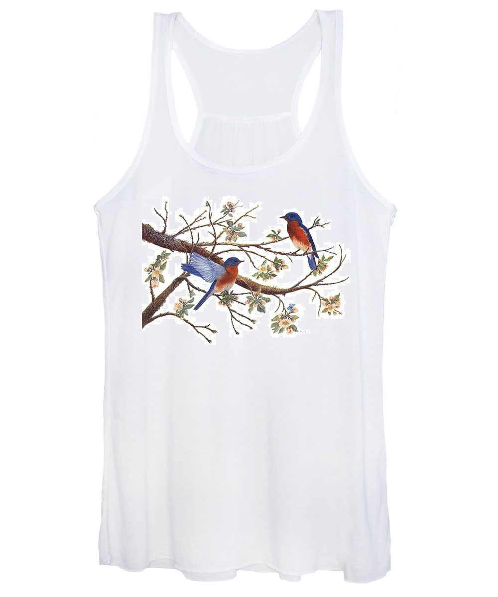 Bluebirds Women's Tank Top featuring the painting Bluebirds And Apple Blossoms by Ben Kiger