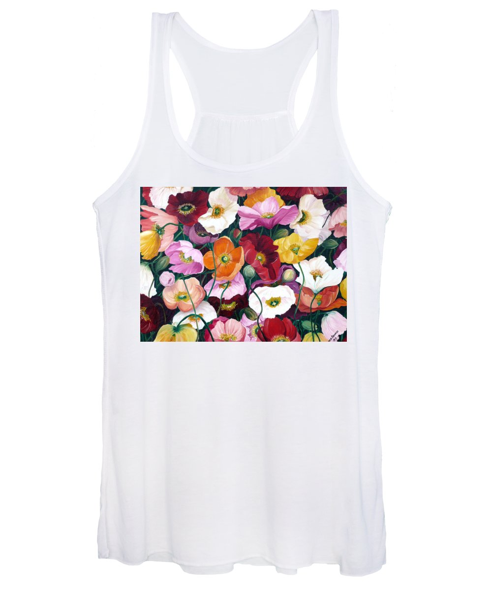 Flower Painting Floral Painting Poppy Painting Icelandic Poppies Painting Botanical Painting Original Oil Paintings Greeting Card Painting Women's Tank Top featuring the painting Cascade Of Poppies by Karin Dawn Kelshall- Best