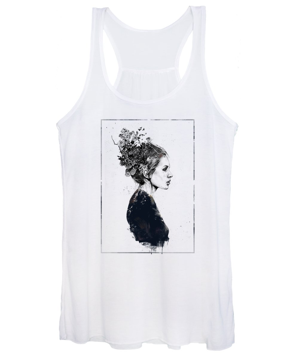 Girl Women's Tank Top featuring the painting Coming home by Balazs Solti