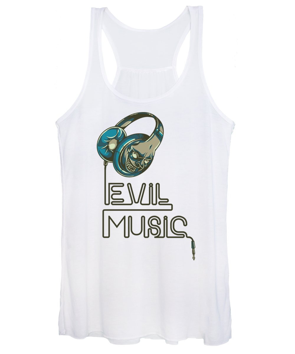 Skull Women's Tank Top featuring the digital art Evil Music by Jacob Zelazny