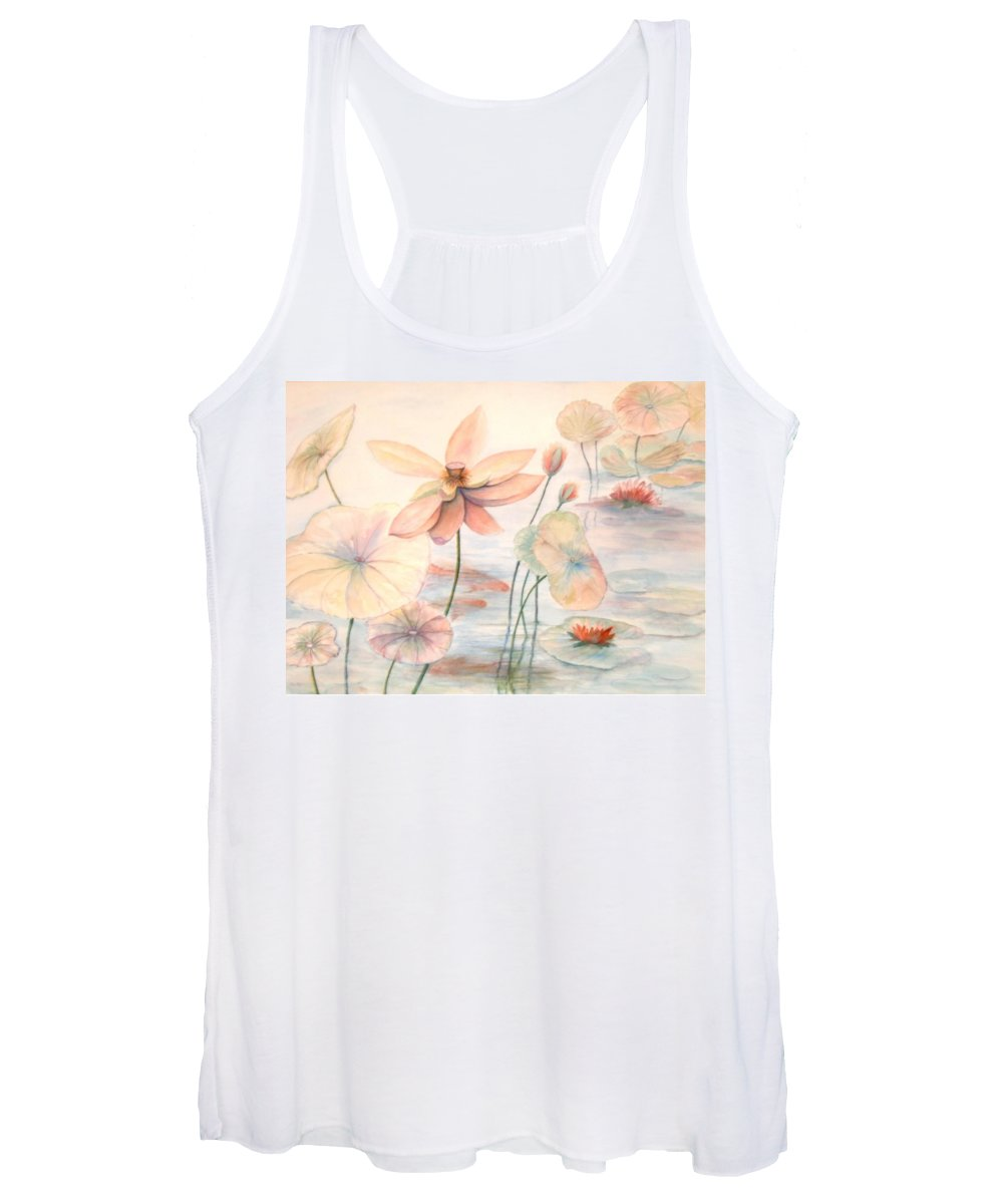 Lily Pads And Lotus Blossoms Women's Tank Top featuring the painting Lily Pads by Ben Kiger