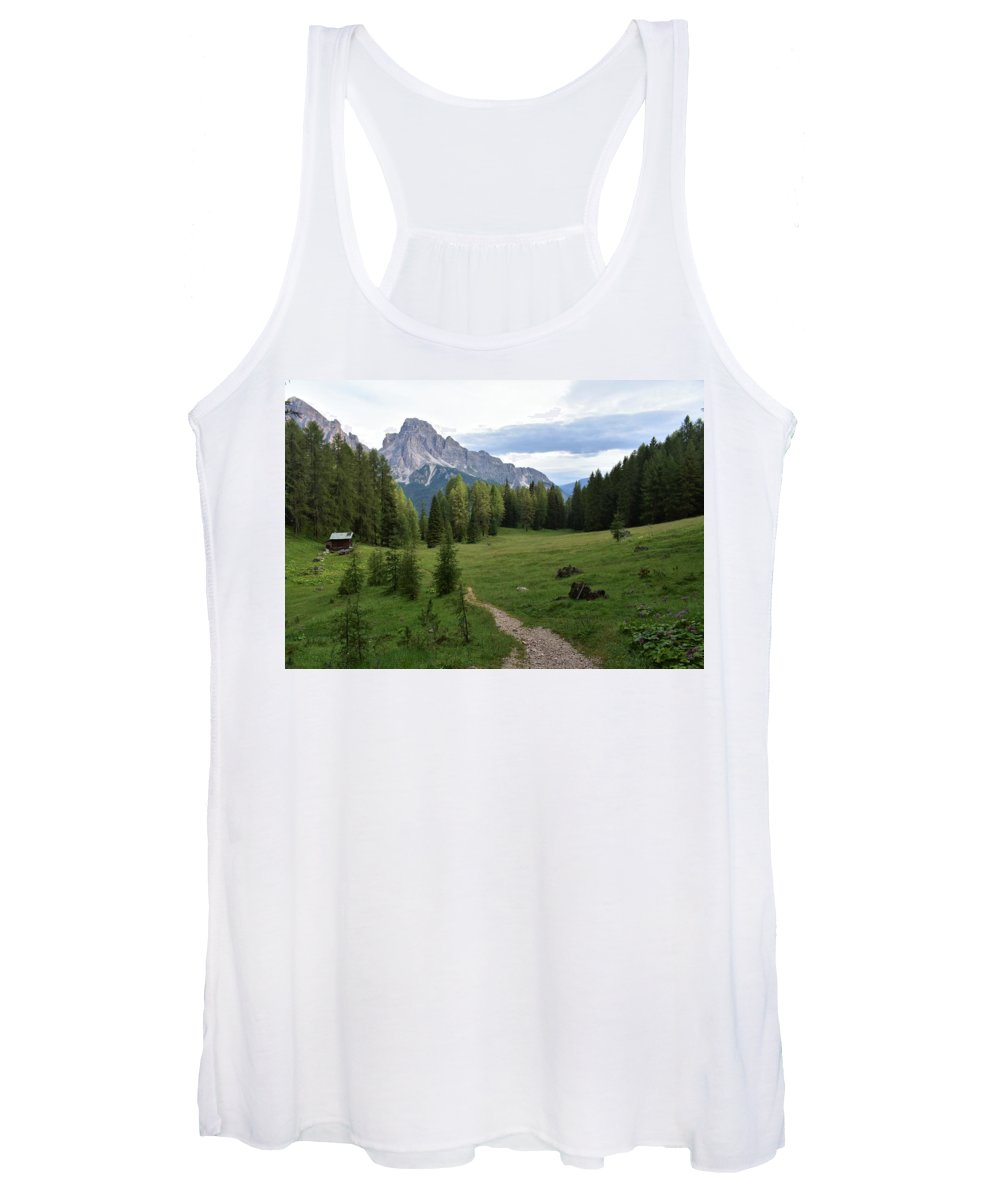 Dolomites Women's Tank Top featuring the photograph Meadow in the dolomites by Luca Lautenschlaeger
