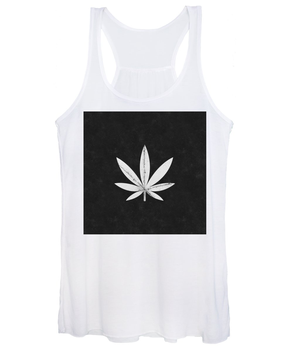 Cannabis Women's Tank Top featuring the mixed media Minimal Cannabis Leaf Black- Art by Linda Woods by Linda Woods