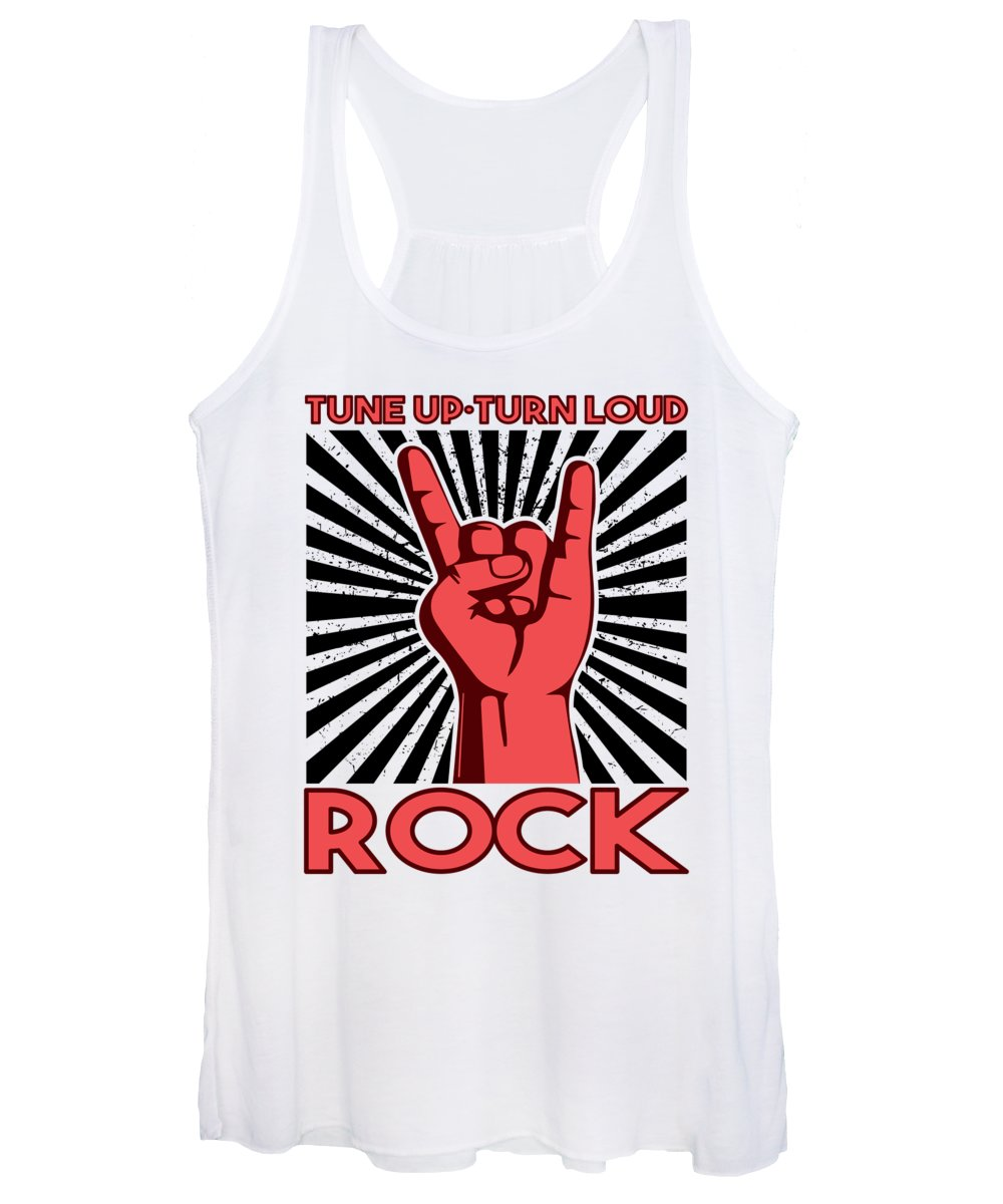 Music Women's Tank Top featuring the digital art Rock Music Rocker Tune Up Turn Loud RnR Gift by J M