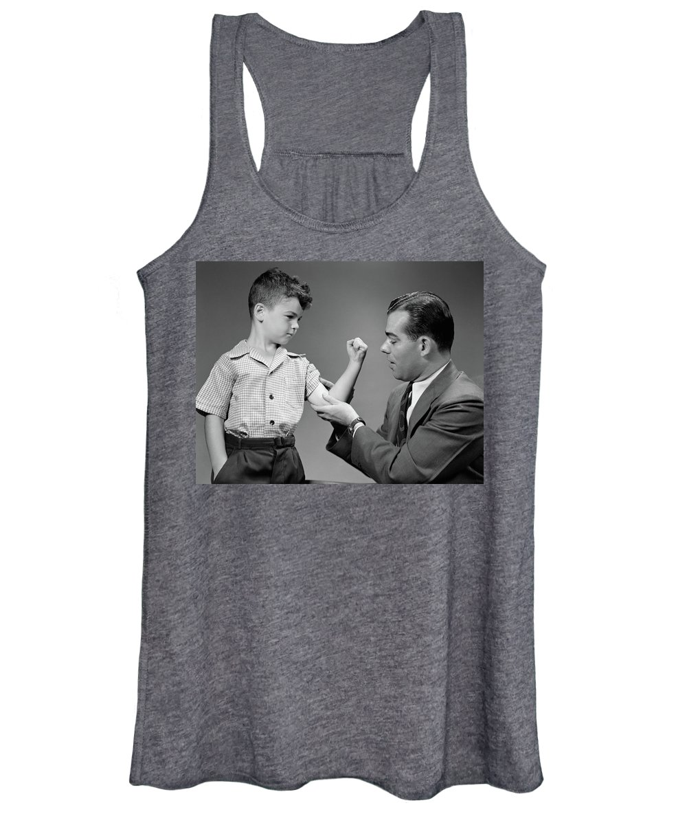 Photography Women's Tank Top featuring the photograph 1940s Boy Makes Muscle For Man Father by Vintage Images