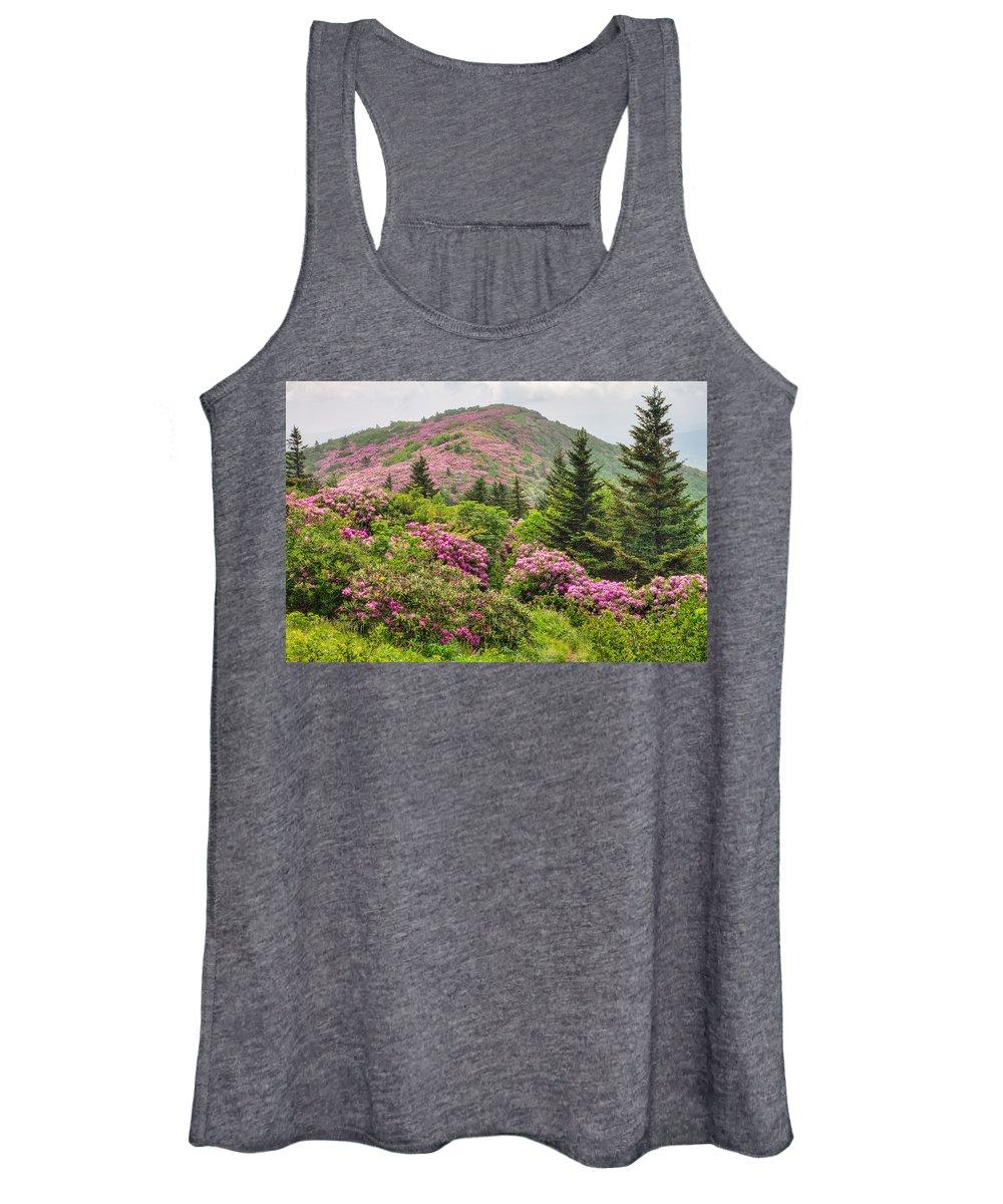North Carolina Mountains Women's Tank Top featuring the photograph Blue Ridge Mountain Rhododendron - Roan Mountain Bloom Extravaganza by Bill Swindaman