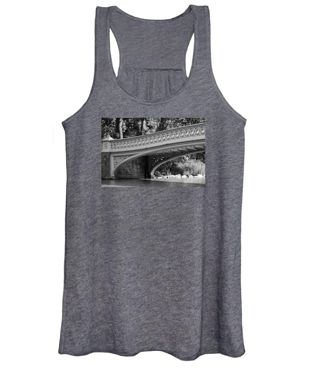 Bridge Women's Tank Top featuring the photograph Bow Bridge Texture Bw by Christiane Schulze Art And Photography