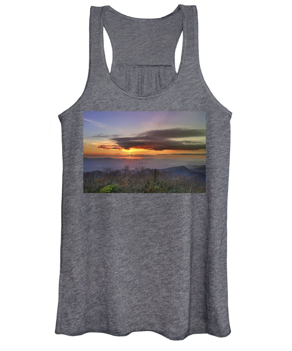 American Women's Tank Top featuring the photograph Brasstown Bald At Sunset by Debra and Dave Vanderlaan
