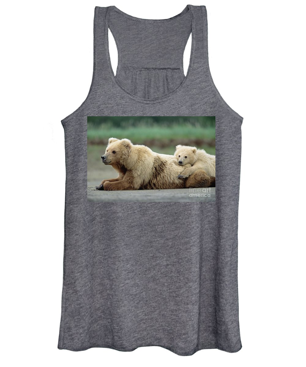 00345267 Women's Tank Top featuring the photograph Grizzly Mother And Son by Yva Momatiuk John Eastcott