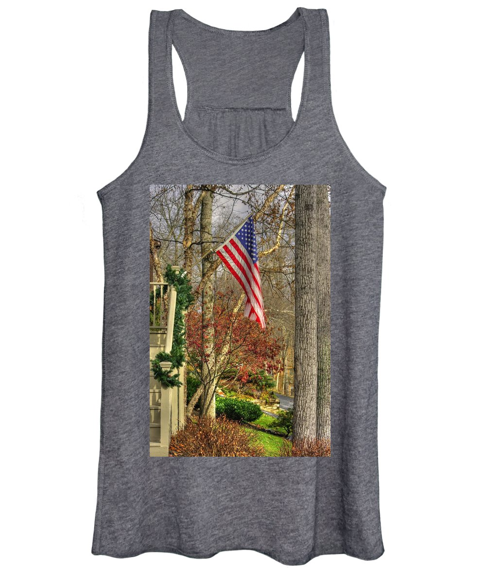 Maryland Women's Tank Top featuring the photograph Maryland Country Roads - Flying The Colors 1a by Michael Mazaika