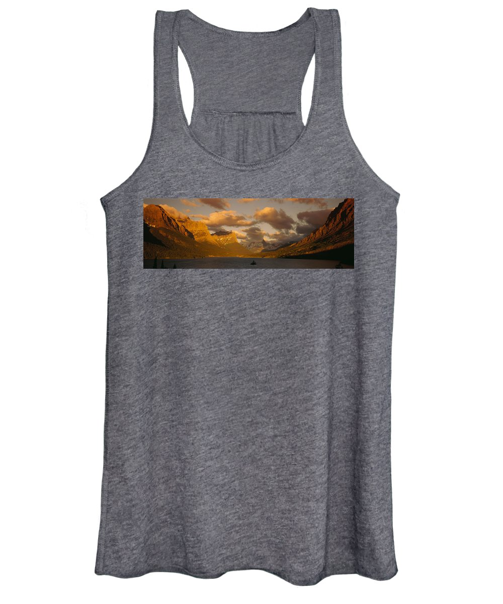 Photography Women's Tank Top featuring the photograph Mountains Surrounding A Lake, St. Mary by Panoramic Images