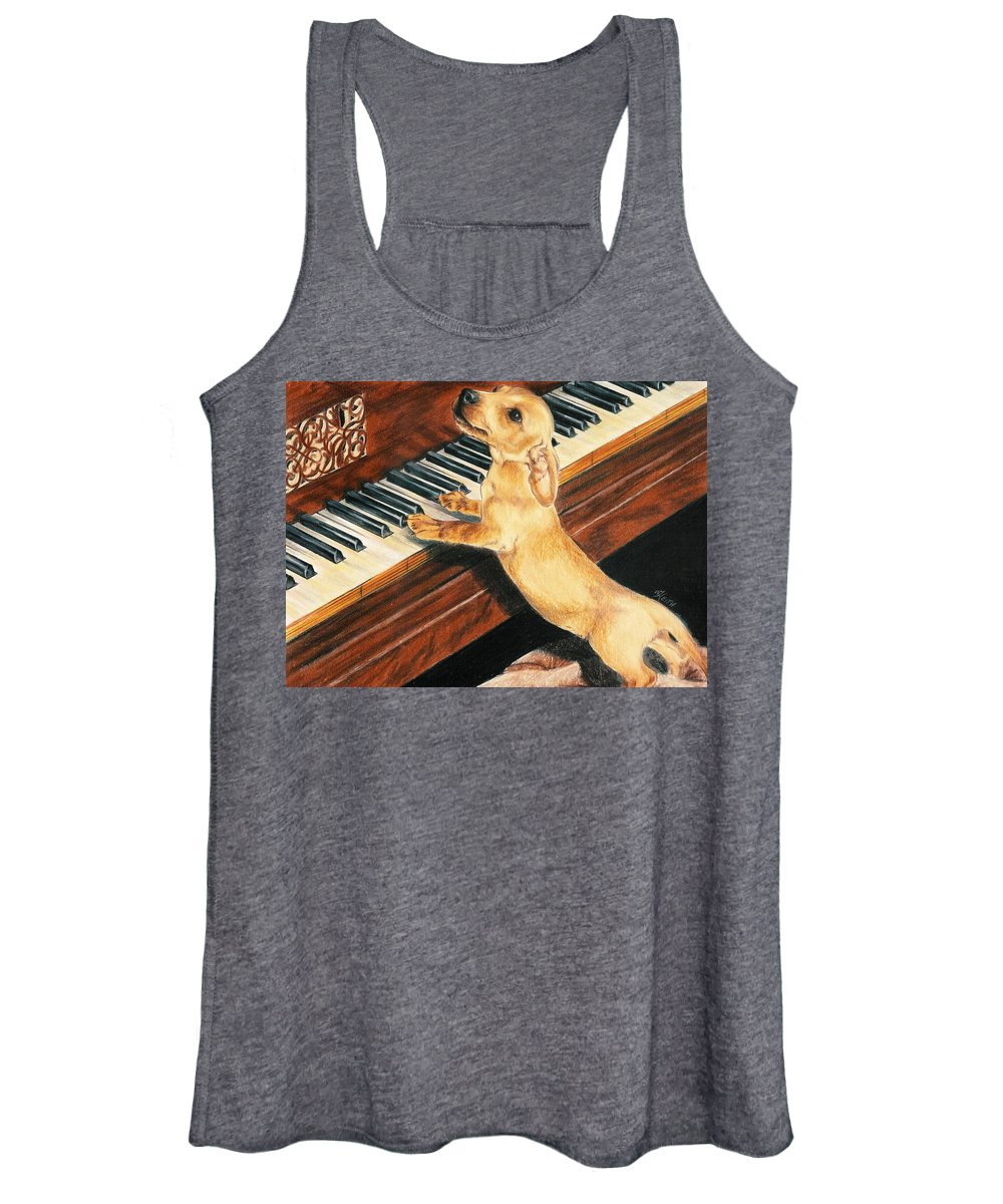 Purebred Dog Women's Tank Top featuring the drawing Mozart's Apprentice by Barbara Keith
