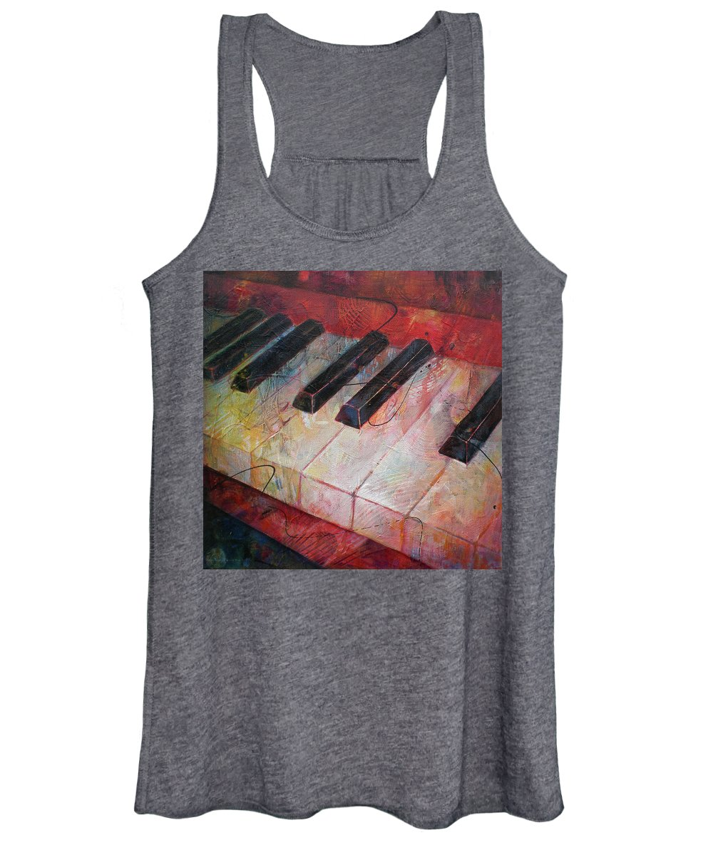 Susanne Clark Women's Tank Top featuring the painting Music Is The Key - Painting Of A Keyboard by Susanne Clark