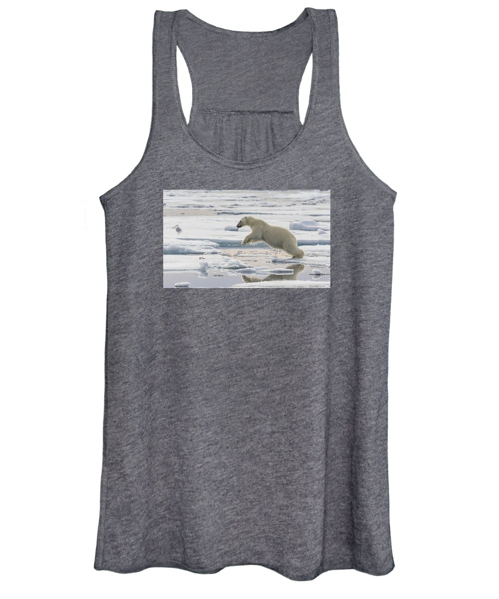Nis Women's Tank Top featuring the photograph Polar Bear Jumping by Peer von Wahl