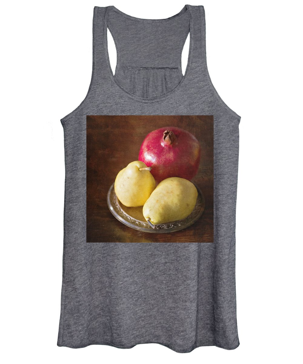 Pomegranates Women's Tank Top featuring the photograph Pomegranate and Yellow Pear Still Life by Renee Cline