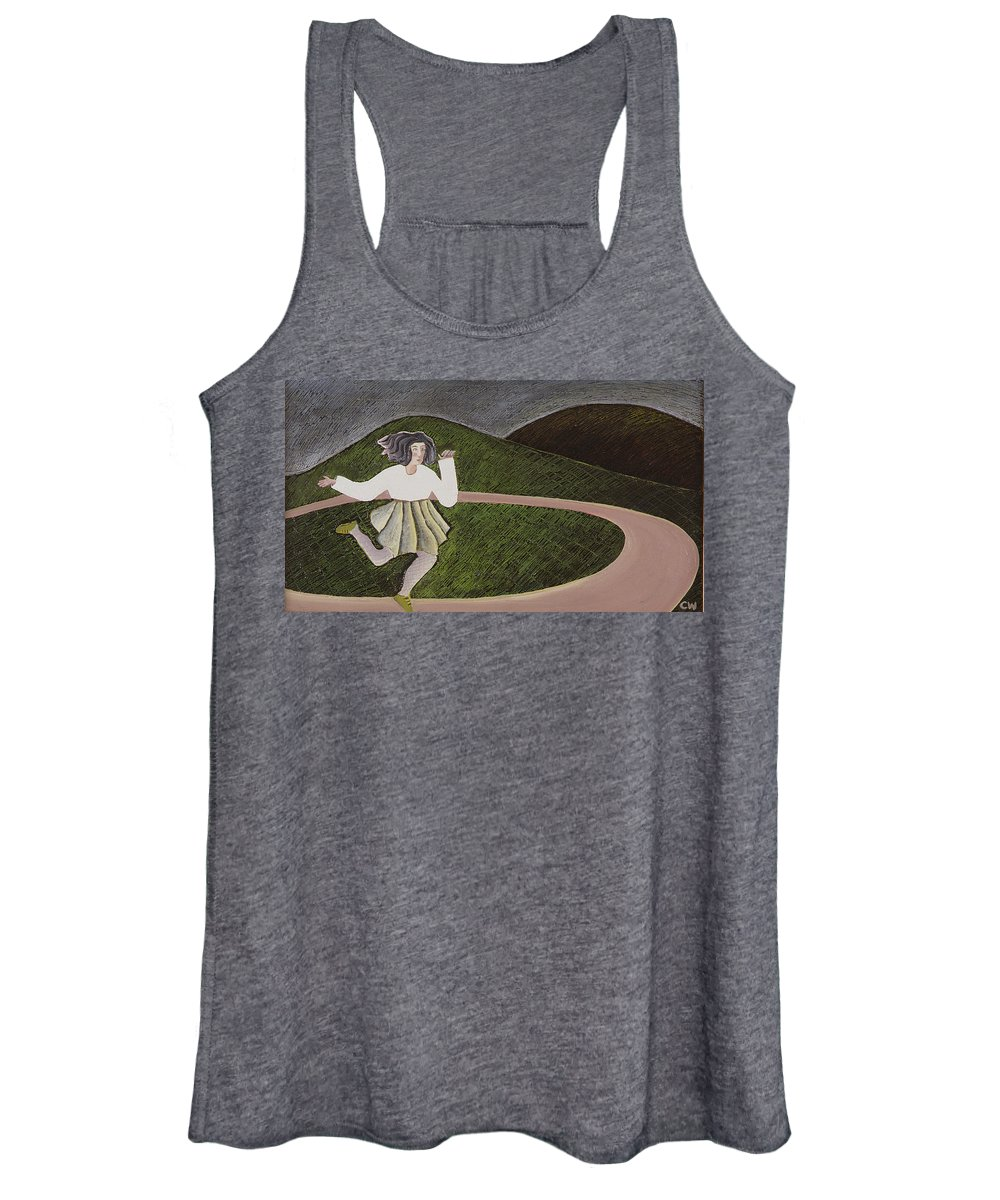 Female Women's Tank Top featuring the photograph Round And Round, 1988 Oil On Canvas by Celia Washington