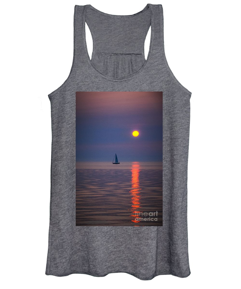 Sailboat Women's Tank Top featuring the photograph Sailboat At Sunrise by Grace Grogan