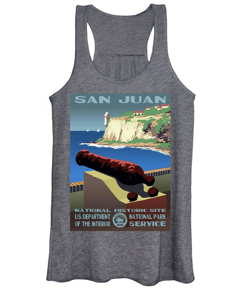 Vintage Women's Tank Top featuring the photograph San Juan National Historic Site Vintage Poster by Eric Glaser