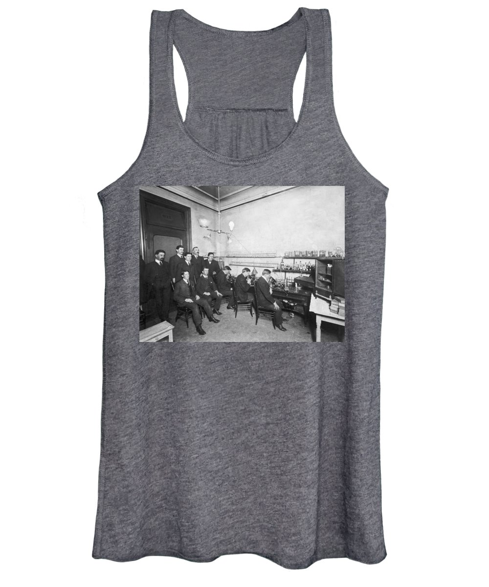 1890 Women's Tank Top featuring the photograph Scientists With Microscopes by Underwood Archives
