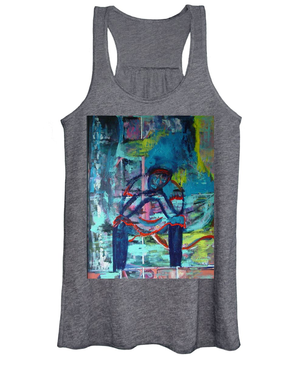 Woman On Bench Women's Tank Top featuring the painting Waiting by Peggy Blood
