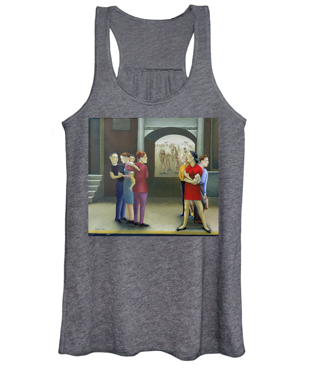 Street; Pavement; Sidewalk; 1st World; 3rd World; Developed; Developing; Contrast; Dichotomy; Poverty; Tortured Africans; Africa; African; Black; Genocide; Rwandan; People Women's Tank Top featuring the painting Beata Rwanda by Caroline Jennings