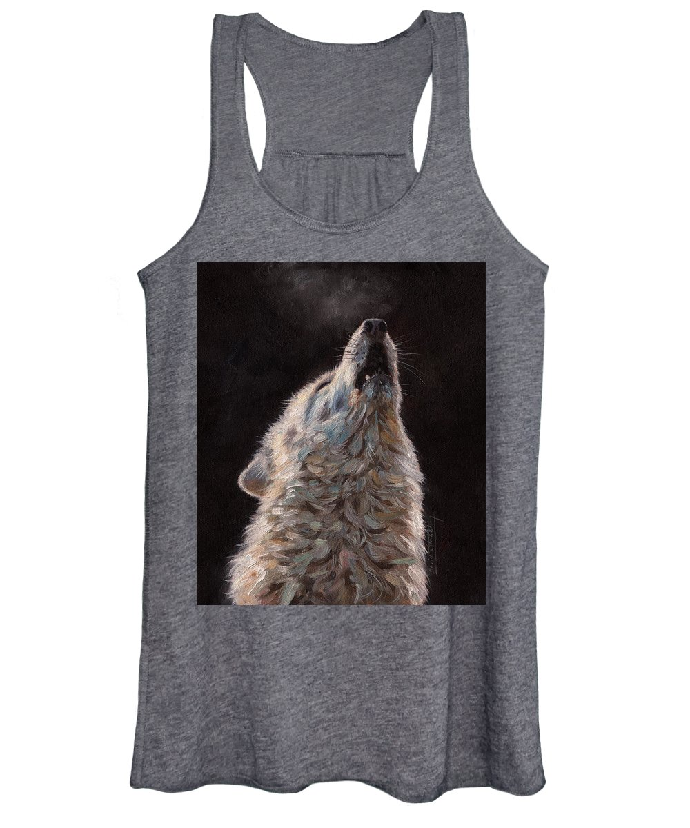 Wolf Women's Tank Top featuring the painting Arctic Wolf by David Stribbling