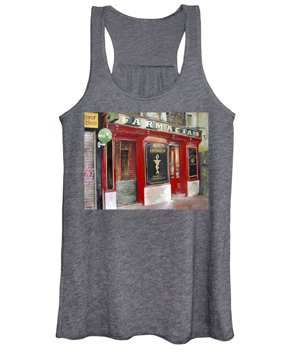 Farmacia Women's Tank Top featuring the painting Old Pharmacy by Tomas Castano