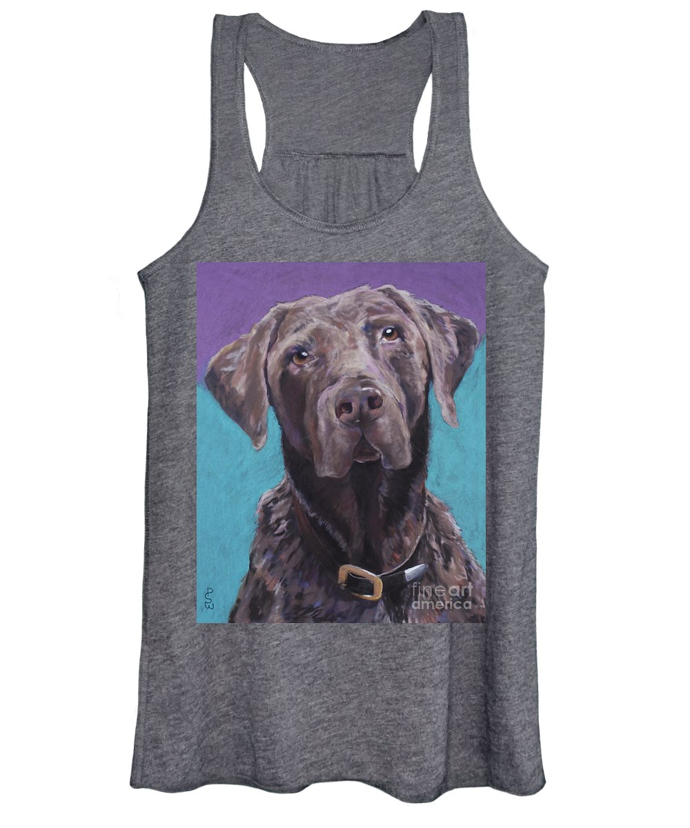 Pet Portrait Commissions Women's Tank Top featuring the pastel Max by Pat Saunders-White