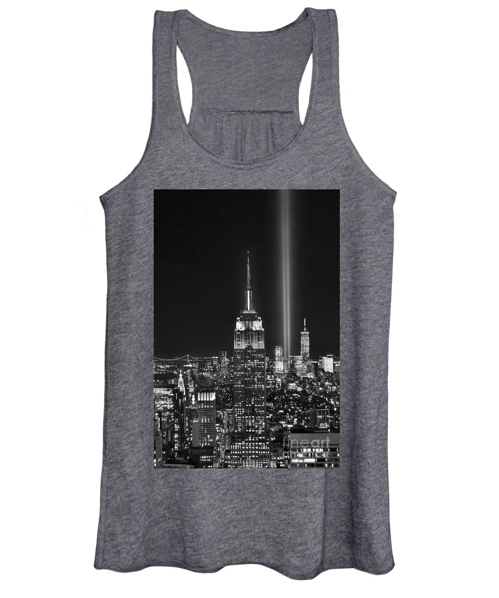 New York City Skyline At Night Women's Tank Top featuring the photograph New York City Tribute In Lights Empire State Building Manhattan At Night Nyc by Jon Holiday