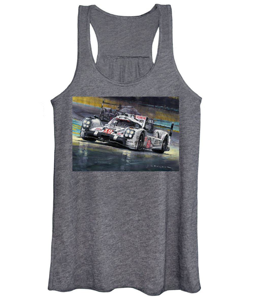 Acrilic Women's Tank Top featuring the painting 2015 Le Mans 24 Lmp1 Winner Porsche 919 Hybrid Bamber Tandy Hulkenberg by Yuriy Shevchuk