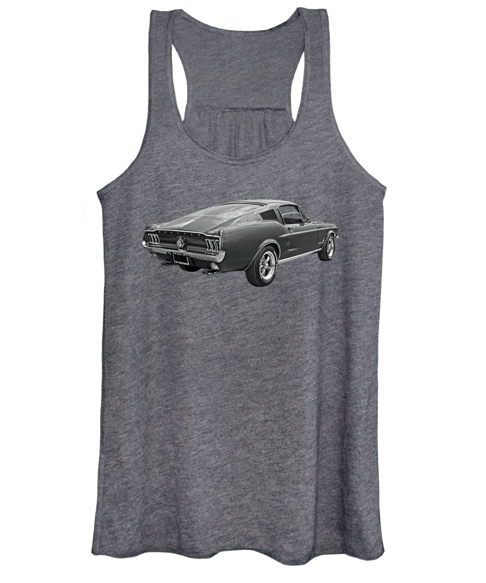 Ford Mustang Women's Tank Top featuring the photograph 67 Fastback Mustang In Black And White by Gill Billington