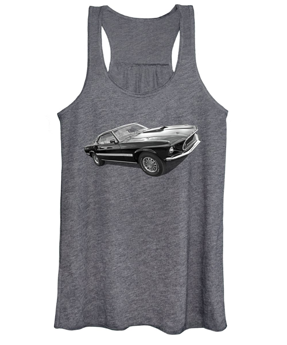 Classic Ford Mustang Women's Tank Top featuring the photograph 69 Mach1 In Black And White by Gill Billington