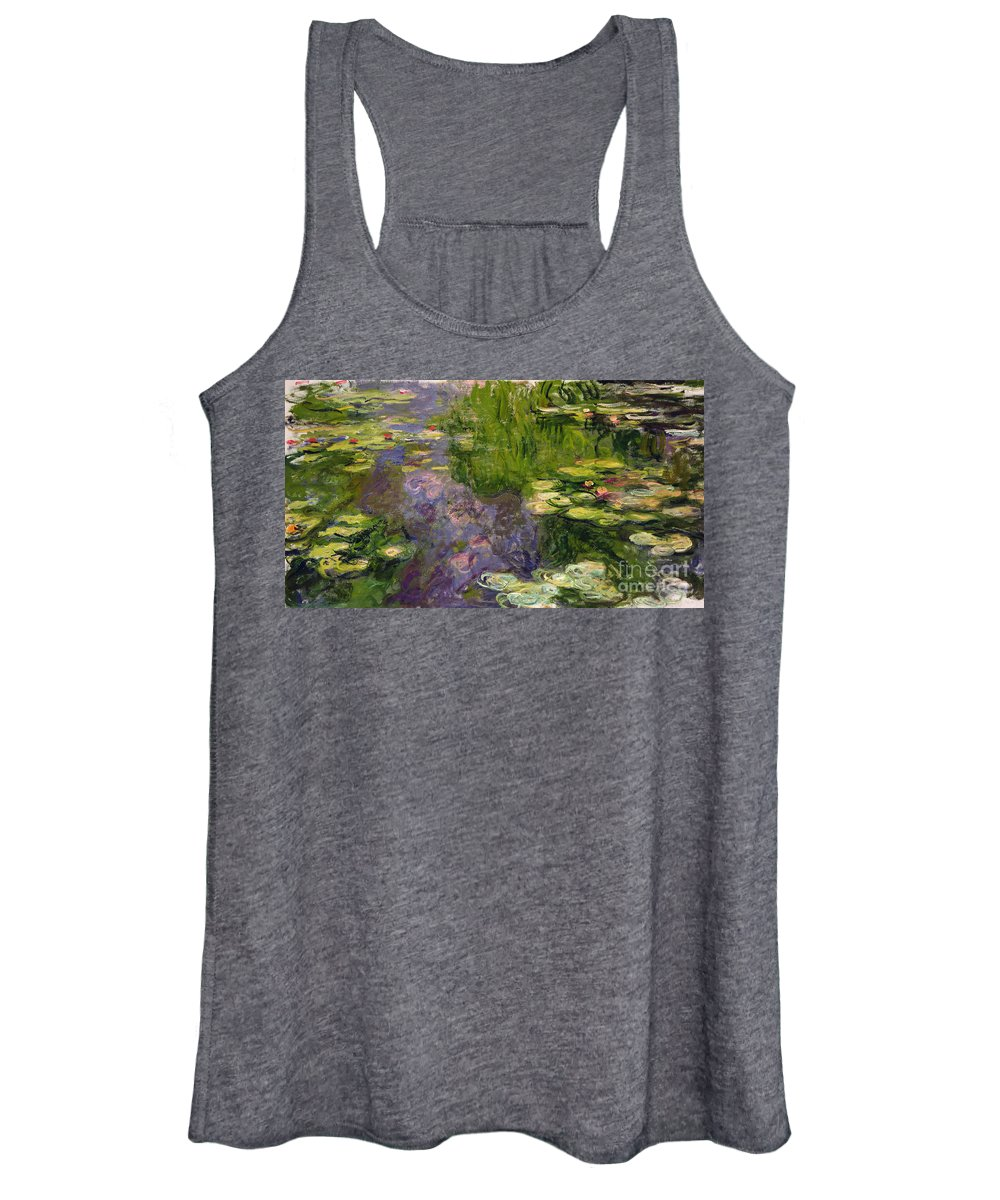 Nympheas; Water; Lily; Waterlily; Impressionist; Green; Purple Women's Tank Top featuring the painting Waterlilies by Claude Monet