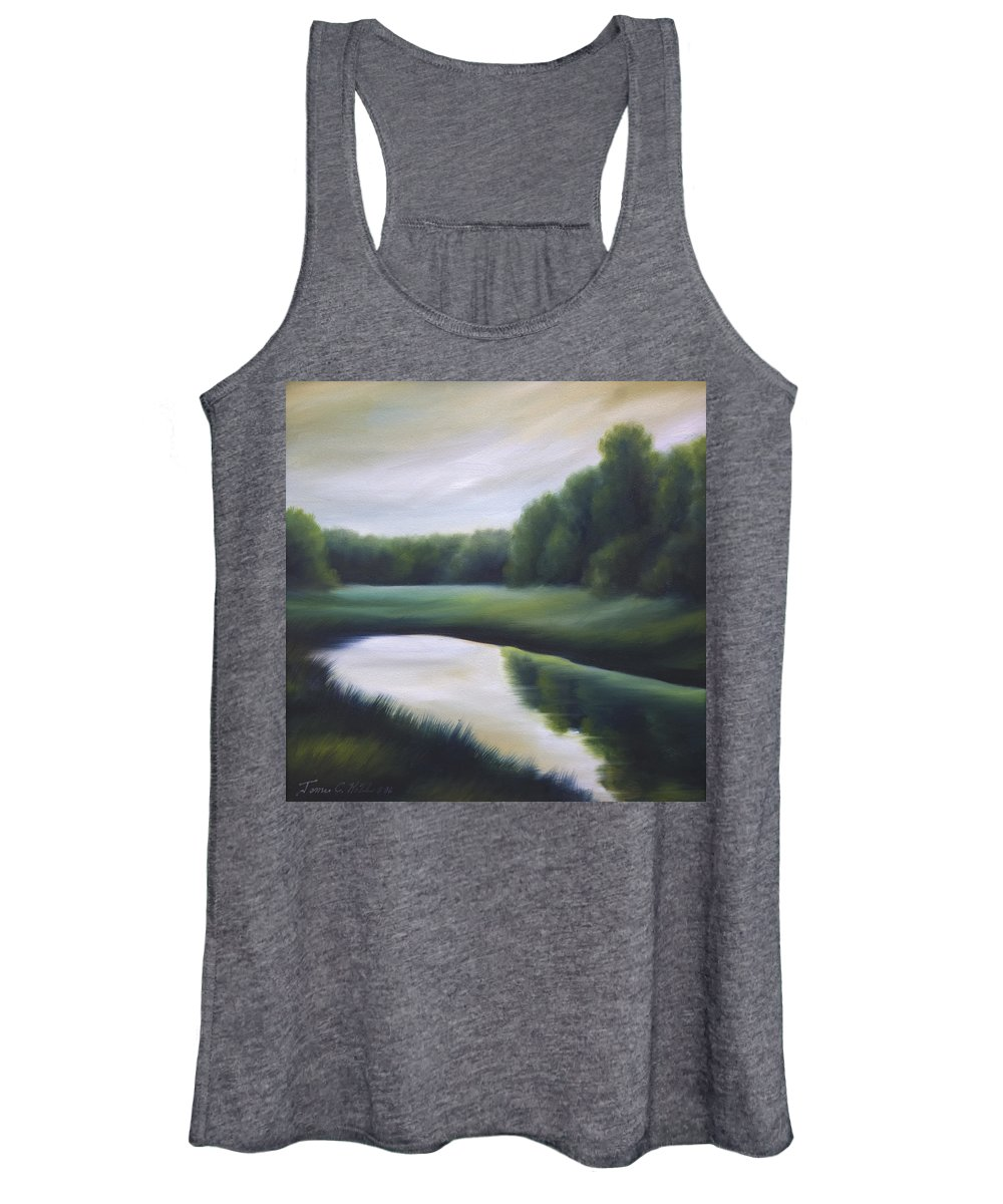 Nature; Lake; Sunset; Sunrise; Serene; Forest; Trees; Water; Ripples; Clearing; Lagoon; James Christopher Hill; Jameshillgallery.com; Foliage; Sky; Realism; Oils; Green; Tree Women's Tank Top featuring the painting A Day In The Life 3 by James Christopher Hill
