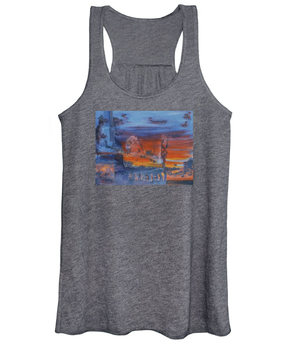 Abstract Women's Tank Top featuring the painting A Mystery Of Gods by Steve Karol