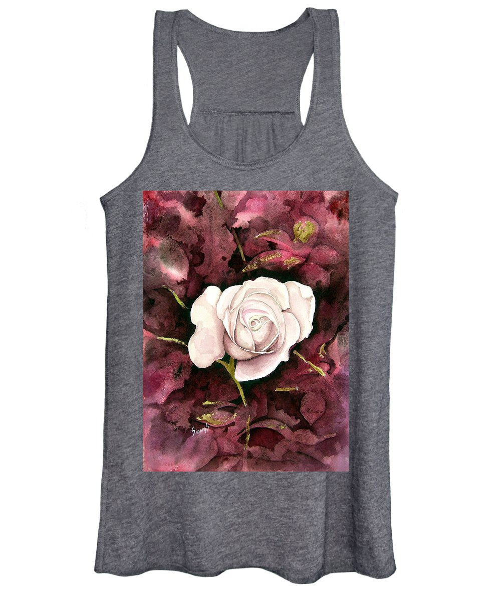 Flower Women's Tank Top featuring the painting A White Rose by Sam Sidders