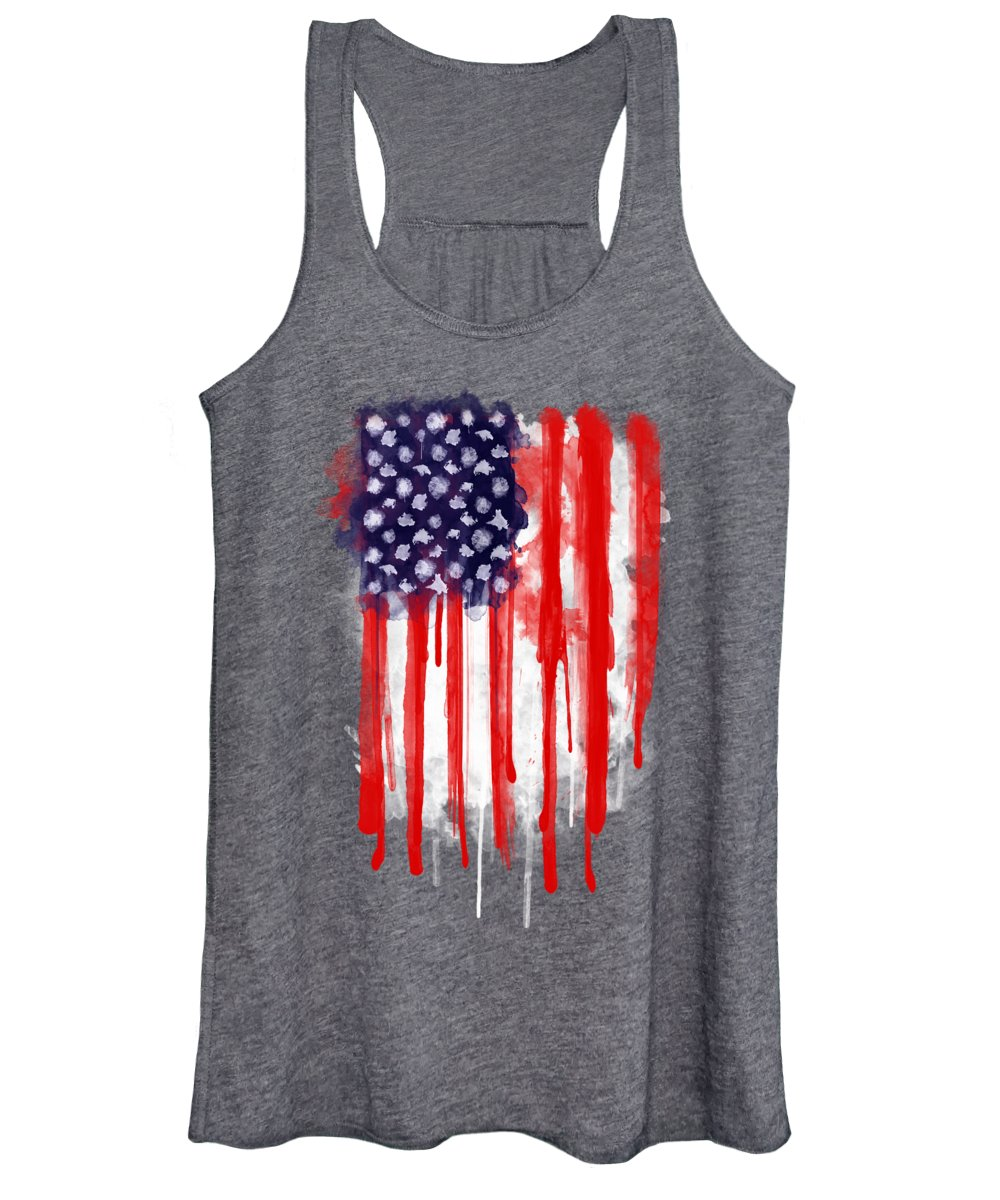 America Women's Tank Top featuring the painting American Spatter Flag by Nicklas Gustafsson