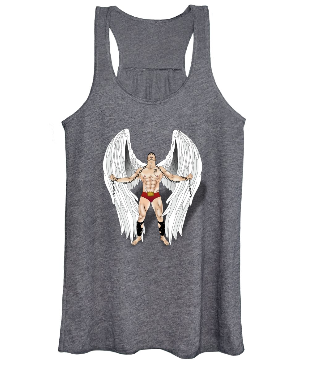 Mysterious Women's Tank Top featuring the painting Angel Love 2 by Mark Ashkenazi