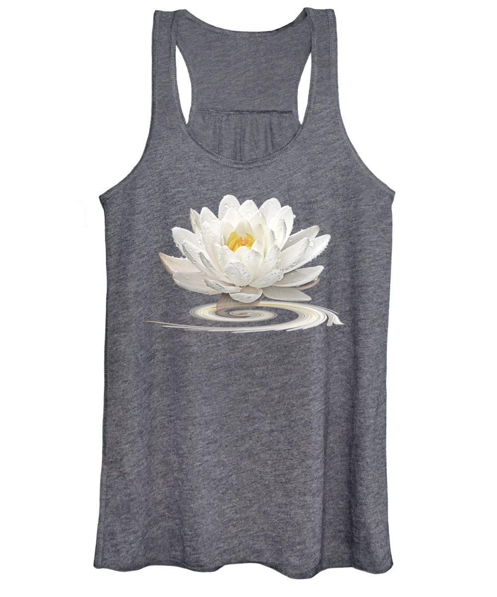 White Waterlily Women's Tank Top featuring the photograph Inner Glow - White Water Lily by Gill Billington